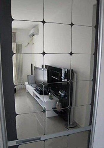 Frolahouse 6 Stks Vierkanten Reflecterende Spiegel Oppervlak Creatieve Decor Art DIY 3D Acryl Kristal Spiegel Muursticker Woonkamer Slaapkamer Plafond TV Muursticker 20cmx20cm Splinter