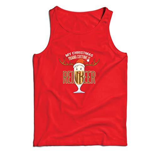 lepni.me Camisetas de Tirantes para Hombre Reinbeer Disfraz de Pijama de Navidad, Regalos para Amantes de la Cerveza (Large Rojo Multicolor)