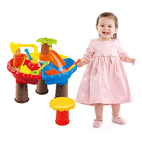 ZQO Ensemble de Table à Sable et à Eau Table de Jeu à Sable et à Eau avec Kit d'Accessoires et Plus de 10 Pièces pour Enfants de 2 à 6 Ans