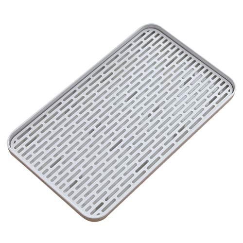 Cabilock - Bandeja de secado de vajilla de plástico, bandeja de drenaje, bandeja de doble capa, escurridor, soporte para utensilios de frutas, accesorios