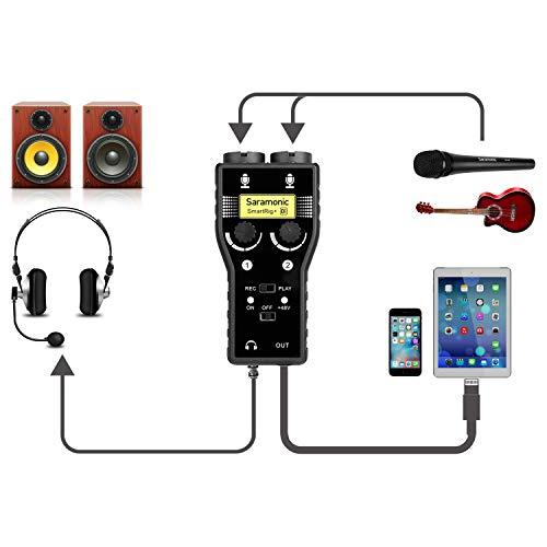 Microphone Preamp for USB-C Smartphone, Saramonic XLR & 3.5mm Mic...