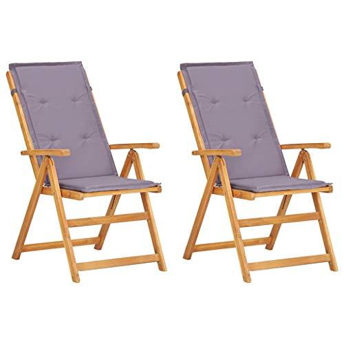 VidaXL 2 x acaciahout massief tuinstoel verstelbaar hoge rugleuning stoel klapstoel stoelen stoel tuinstoelen houten stoel tuinmeubelen bruin