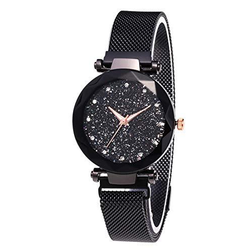 Neborn Mesdames de Luxe Regarder aimant Maille en Acier inoxydable avec étoiles de la Mode Diamant femelle lumineuse montre à Quartz Brillant reloj feminin