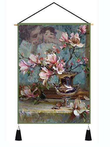 YUYINGXIANG Tapiz De Flor De Magnolia Rosa, Pintura para Colgar En La Pared, Alfombra, Decoración Artística para El Hogar, Tapices De Tela para Pared, Sala De Estar, Dormitorio, Manta-45X65Cm