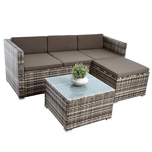 ESTEXO Rattan Lounge Sitzgruppe Polyrattan Gartenmöbel Set Couch 3-Sitzer Rattanmöbel Sofa Set Essgruppe Gartenset Balkon-Set (Beige-Braun) - 4