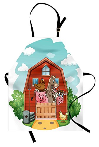 Lunarable Cartoon Apron  Happy Farm Animals Living in Barnhouse Chicken Domestic Rural  Unisex Kitchen Bib with Adjustable Neck for Cooking Gardening  Adult Size  Brown Green