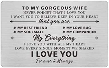 To My Gorgeous Wife Engraved Wallet Cards for wife Love Gifts for Wife Anniversary Present Card product image
