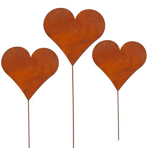 Cepewa 3er Set Gartenstecker Herz im Rost Design, 42cm