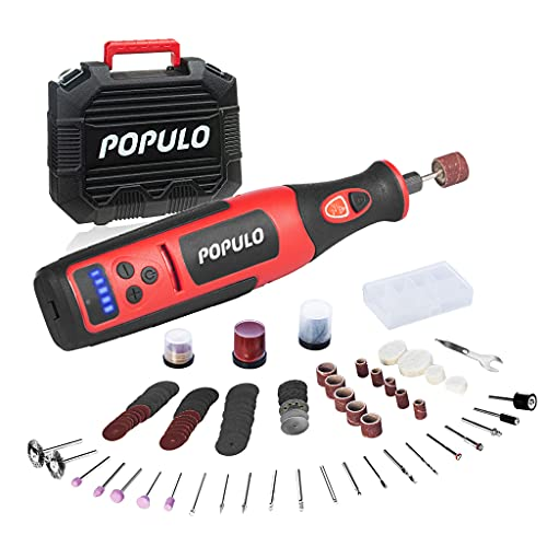 POPULO Power Cordless Rotary Tool Kit,8V Rotary Tool Cordless with 124 Accessories, Rotary Tool Set for Cutting, Sanding, Engraving, Polishing, Carving, Crafting and NailCrafting