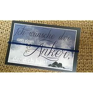 ALSTERschmuck – Ich wünsche dir stets einen Anker, der dich hält! – Wunscharmband in dunkelblau