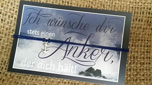 ALSTERschmuck - Ich wünsche dir stets einen Anker, der dich hält! - Wunscharmband in dunkelblau