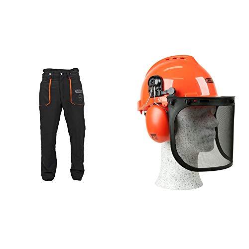 Oregon YukonPantalones de Protección Tipo A Clase 1 (20m/s), Pantalones Ligeros para Motosierra/Trabajo/Exterior, Negros, Talla XL + 562412 YukonCasco de Seguridad con Protector para Cara ✅