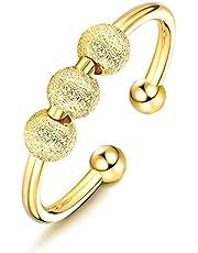 Milacolato 925 sterling silver ångestringar för kvinnor män 18K guldpläterade spinner band ringar fidgetringar för ångest tunna justerbara stapelbara ringar