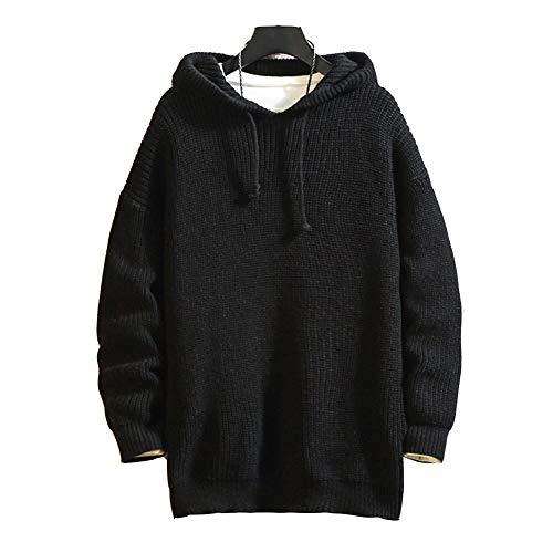 GAAHAA Herren Sweatshirt Pullover Strickpullover Dicker Hipster Gym Langarm Plaid Jacquard Pullover Neck Sweatshirt Langarm-Black-L