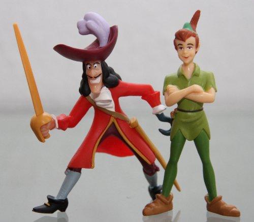Bullyland - PETER PAN & CAPTAIN HOOK - Figur : Peter Pan / ca. 9 cm + Captain Hook mit Säbel / ca. 9 cm - Walt Disney