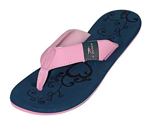 MADSea Damen Zehenstegpantolette Beach Women Zehentrenner dunkelblau rosa, Größe:39 EU
