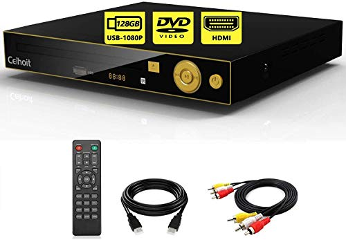 HD DVD Player for TV with HDMI AV Output, Support Real1080P HD MP4/RMVB/WMV Video, Region Free, Support 128GB USB Flash Drive, HDMI Cable/AV Cable/Remote controlller Included