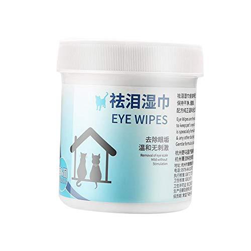 Baoblaze 100 almohadillas para los ojos de mascotas, toallitas para las manchas de rasgaduras, toallitas naturales para eliminar manchas de ojos, toallitas