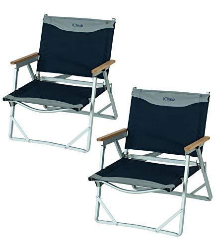 iClimb Ultralight Low Beach Concert Camping Silla plegable con asa y correa para el hombro (azul marino - 2PC)