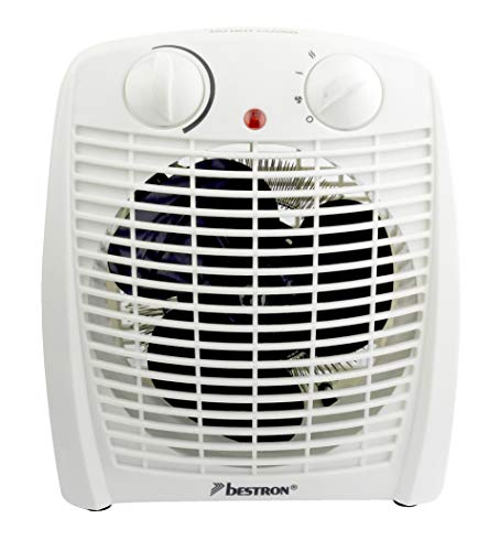 Bestron Heizlüfter, Thermostat, Temperaturüberwachung, 1000 Watt/ 2000 Watt, Weiß