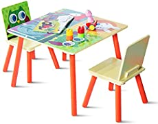 Costzon Kids Table & 2 Chair Set, 3 Pieces Wood Activity Table for Toddler Draw Play Study Dining, Cartoon Pattern, Multipurpose Children Furniture Set for Playroom, Nursery, Preschool (Colorful)