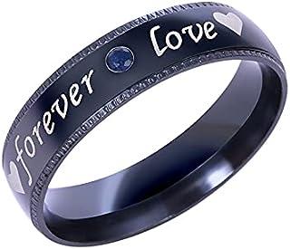 RIHJPGE Couple Love Heart Rhinestone Ring, Titanium Stainless Steel for Men and Women