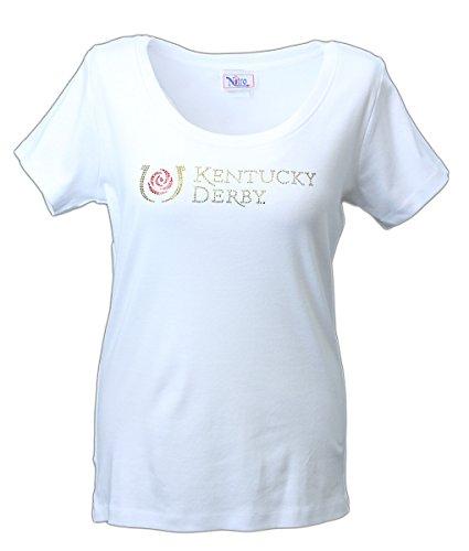 Nitro USA con licenza ufficiale da donna Kentucky Derby manica corta beside rose gioiello collo top, Donna, Infradito colorati estivi, con finte perline, X-Large