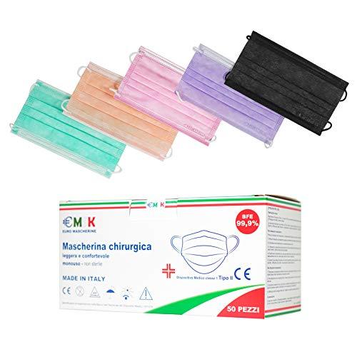 €MSK Mascherine chirurgiche colorate Monouso Adulto,Certificate CE,Tipo II,Triplo Strato Filtrante...