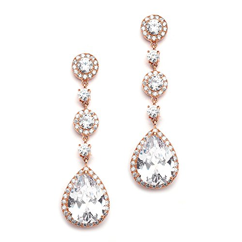 Mariell Cubic Zirconia 14K Rose Gold Pear-Shaped Teardrop Dangle Earrings - Brides, Weddings and Formals