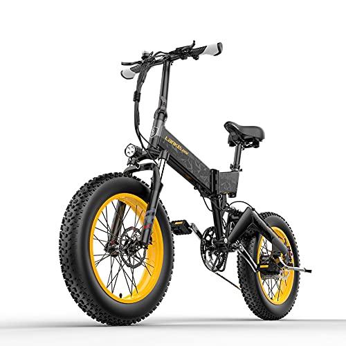 X3000 Bicicletta elettrica pieghevole 20 pollici pneumatici grassi 1000W Motore 48v * 14,5Ah batteria Display LCD Bicicletta elettrica a 7 velocità, portata fino a 60 km (Nero rossastro)