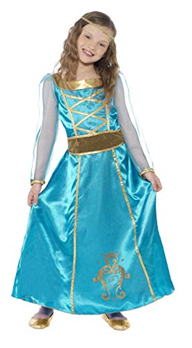 Smiffys Children's Medieval Maid Costume, Dress, Headband, Ages 7-9, Size: Medium, Color: Turquoise, 44105