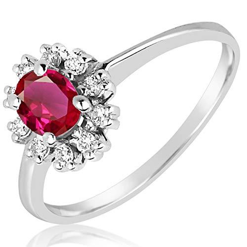 MILLE AMORI ∞ - Anello di fidanzamento da donna in oro e diamanti ∞ oro bianco 9 kt 375 diamanti 0,12 carati ∞ rubino sintetico 0,5 carati ∞ Gems e Oro bianco, 12, cod. 155 RB