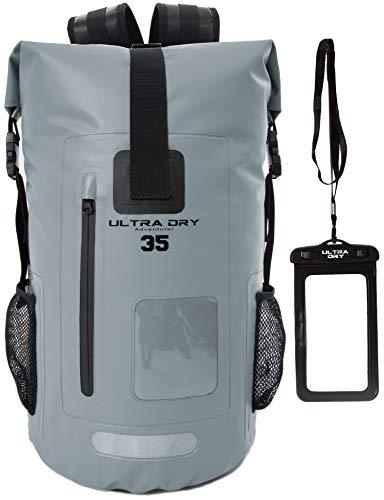 Mochila impermeable de 35 l de alta calidad, con bolsa seca para el teléfono, perfecta para barco/kayak/senderismo/canoa/pesca/rafting/natación, campamento/snowboard (gris, 35 L)