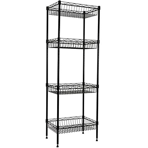 YOHKOH 4-Tier Metal Wire Storage Shelving Rack with Baskets, Adjustable Corner Shelf Organizer for Laundry Bathroom Kitchen Pantry Closet Garage Tool Storage, Black