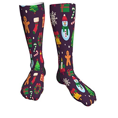Christmas Symbols Xmas Green Tree Gift Vector Warm Thick Knee High Knit Socks 50cm