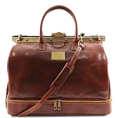 Tuscany Leather - Barcelona - Maleta de Viaje en Piel con Doble Fondo Marrón - TL141185/1