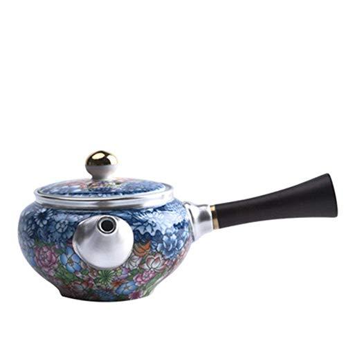 YANJ Keramik-Teekanne Keramik-Teekanne Emaille Sterling Silber Keramik-Teekanne Seitengriff Kanne für Großtee und Teebeutel Sichere und hitzebeständige Keramik-Teekanne (Color : Blue, S
