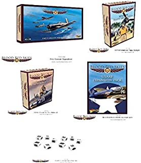 Blood Red Skies Warlord Games, 1:200 Scale, F4U Corsair Squadron, USAAF Expansion Pack, Ace: Philip Kirkwood, Ace: 'Pappy' Boyington and Dices