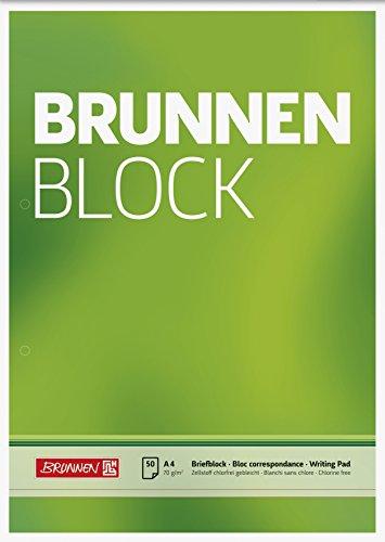 Brunnen 1052756 Briefblock / Schreibblock / Der Brunnen Block (A4, blanko, 50 Blatt, 70 g/m², 2-fach gelocht)