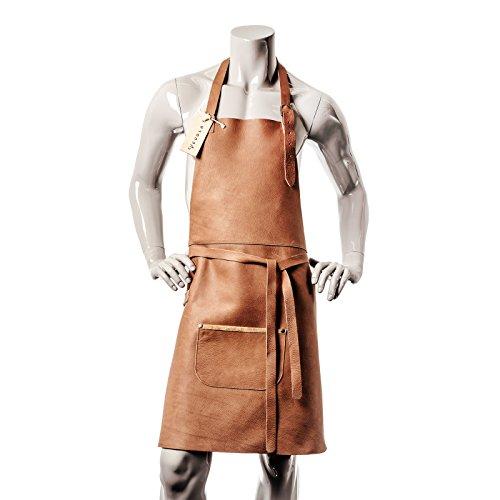 VEDGLA Lederschürze – Grillschürze – Kochschürze – Kellnerschürze – Schürze aus hochwertigem Rindsleder mit verstellbaren Riemen und optimaler Passform, 84 cm x 70 cm, in Farbe Cognac