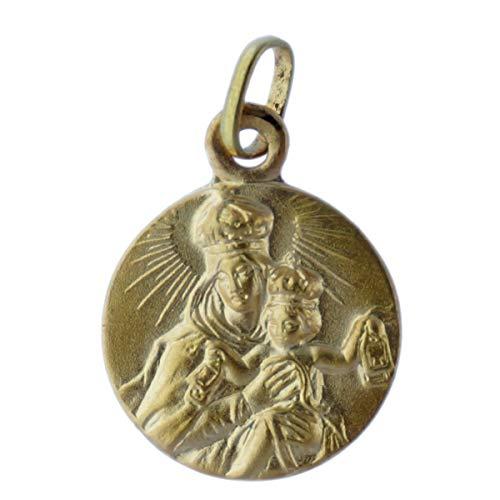 SACRE COEUR - Escapulario Sagrado Corazón y Vírgen del Carmen | Oro 18 Quilates | 14 x 14 mm | Grabado por Las Dos Caras