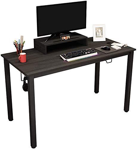 Need Gaming Tisch Professioneller Computertisch Schreibtisch Bürotisch aus Holzwerkstoff mit Monitorstand Getränkehalter und Haken für Aufbewahrung,120 * 60 cm,Schwarz