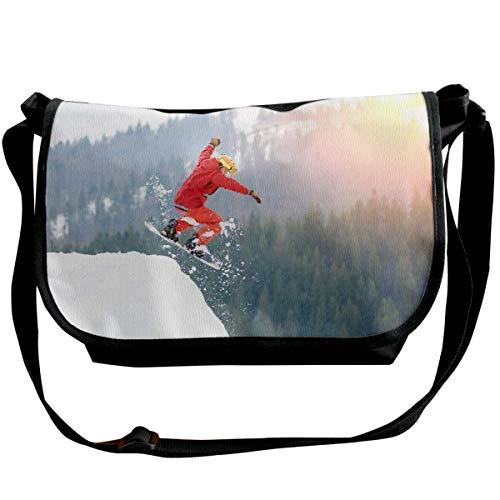 Springen Van Snowy Hill Met Snowboard Crossbody Tas Enkele Schoudertas Lichtgewicht Tas Met Verstelbare Band Reizen Tas