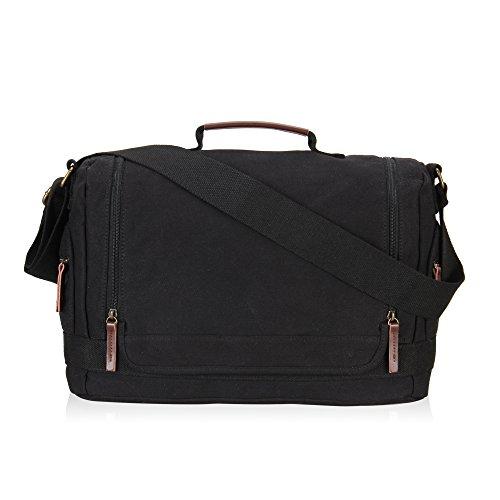 Veevan Unisex Doppio Cerniere con Canvas Shoulder Bag Messenger (Nero)