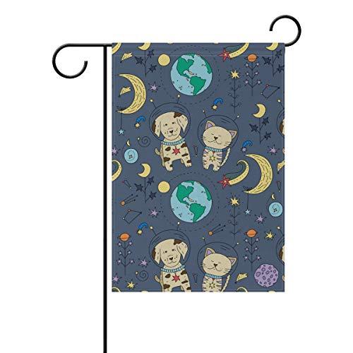 SUNOP Polyester Garden Drapeau Astrodog Banner 30,5 x 45,7 cm pour extérieur Home Garden Pot de Fleurs Décor fête Maison Drapeau, Multicolore, 28x40(in)