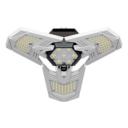LED Garage Lights 100W, CACAGOO 10000LM Deformable Garage Ceiling Light 6500K Garage Lighting Fixture, Shop Light with 3 Adjustable Panels...