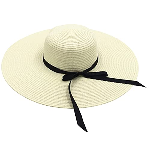 KFGF Cappello da sole estivo, da donna, con grande tesa e fiocco, in paglia da sole, per attività all'aperto, da viaggio, può evitare raggi UV, colore bianco latte