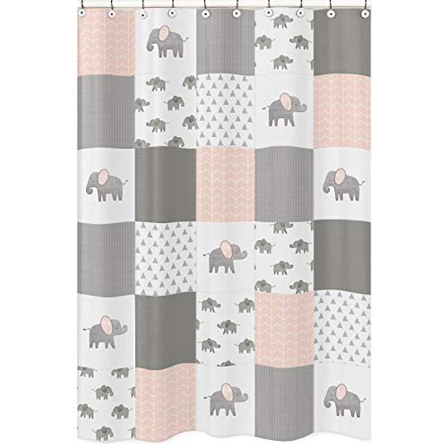 Sweet Jojo Designs Blush Pink, Grey and White Bathroom Fabric Bath Shower Curtain for Watercolor Elephant Safari Collection
