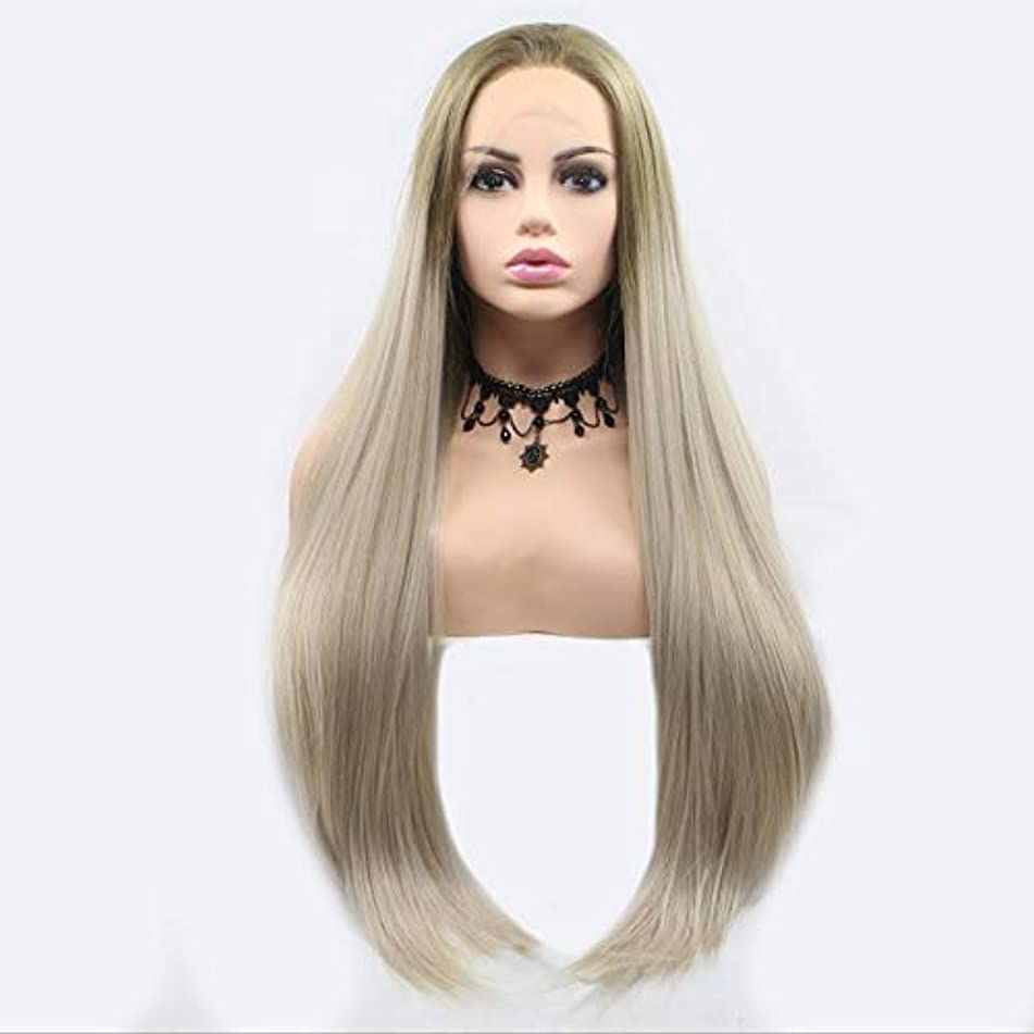 Greenmirr Ombre Blonde Lace Front Wig for White Women Long Straight Synthetic Hair