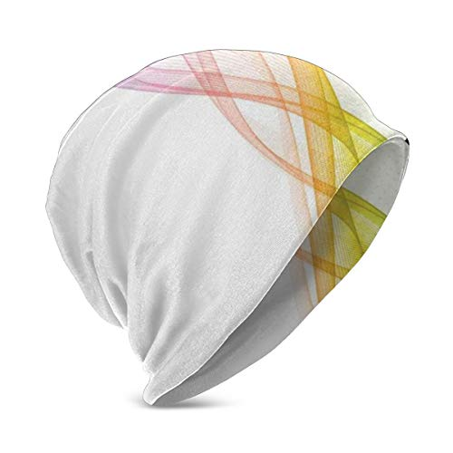 Preisvergleich Produktbild SJuczi Beanie Cap for Boy Girl, Soft Warm Kids Knit Modern and Cool Smoke Wavy Like Design with Rainbow Alike Detailed Work of Art